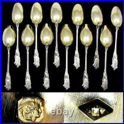 12 Antique French Sterling Silver Teaspoons, Coffee Tea Spoon Set