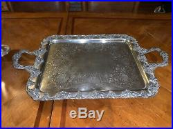 1800s fine silver 925 tea coffee set with amazing 1800s tray w grapes & leafs