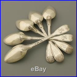 18c 19c Antique French Sterling Silver Tea Coffee Spoon Set 5pc Shell Initial Bc