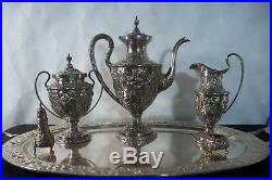 19th Century Kirk & Sons sterling silver Repousse tea service set. 8pc and tray