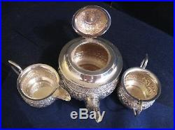 3 Piece Beautiful Classic American Floral Repousse Sterling Silver Tea Set