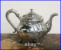 3 piece sterling silver Thailand Bangkok tea set Circa 1900 in fitted case