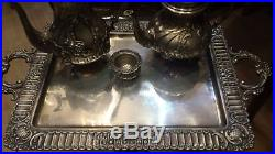 3220g STERLING SILVER RICH ANTIQUE FRENCH Rococo STYLE CARVING COFFEE TEA SET 6