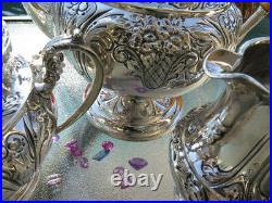 3pc OLD TEA COFFEE SET ELLMORE STERLING SILVER RARE LARGE HEAVY HANDMADE 56 Oz