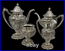 4-Piece Tea/Coffee Set in Repousse Sterling Silver by Schofield