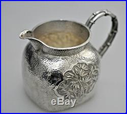 433 Grs ANTIQUE CHINESE CHINA EXPORT SOLID SILVER TEA SET POT BOWL CREAMER 1880