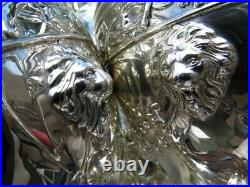 4pc OLD TEA COFFEE SET STERLING SILVER LARGE HEAVY LIONS GREEK REVIVAL MUSEUM NM
