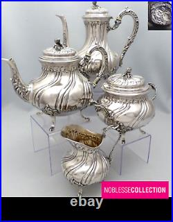4pc SET ANTIQUE EARLY 1900s FRENCH STERLING SILVER TEA & COFFEE POT SET 2100g