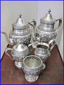 5 Pc. Amston #817 Pattern Hand Chased Sterling Tea Coffee Set