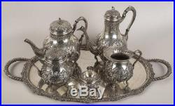 5374g STERLING SILVER RICH ANTIQUE FRENCH Rococo STYLE EMBOSSED COFFEE TEA SET 6