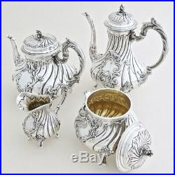 5pc Antique French Sterling Silver Tea Coffee Service Set by Veyrat & Christofle