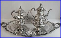 5pc MUSEUM QUALITY WALLACE GRANDE BAROQUE STERLING COFFEE / TEA SET + TRAY GRAND
