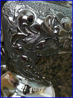 6 Pc Hand Made Museum Quality Artcraft Repousse Sterling Coffee / Tea Set Silver