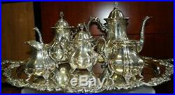 6 Piece Lancaster Rose Poole Sterling Silver Tea Set (Waste & Tray) 990
