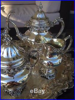 6pc Museum Quality Wallace Grande Baroque Sterling Coffee / Tea Set + Tray Grand
