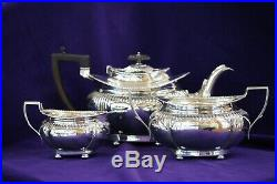 #7060082- Antique 1900s Sterling Silver Tea Service Set Queen Anne Style 950g