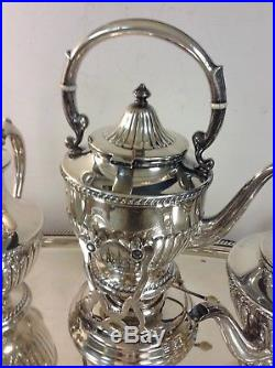 8 Pieces Sterling Silver Tea Set & Sterling Tray, markings of Sterling