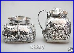 939 Grs ANTIQUE CHINESE CHINA EXPORT SOLID SILVER TEA SET POT BOWL CREAMER 1880