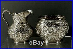 A. Jacobi Sterling Tea Set c1890 Hand Decorated