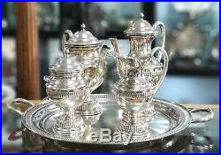 A Portuguese sterling silver coffee and tea set with tray