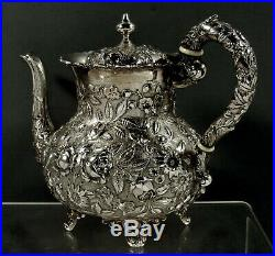 AG Schultz Sterling Silver Tea Set c1905 Hand Decorated