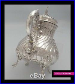 AMAZING ANTIQUE 1890s FRENCH FULL STERLING SILVER TEA POT SET 3 pc Rococo style
