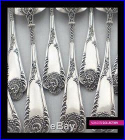 ANTIQUE 1880s FRENCH STERLING SILVER TEA COFFEE SPOONS SET 12 pc Rococo st. 267g