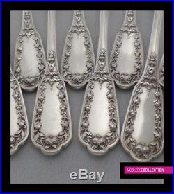 ANTIQUE 1880s FRENCH STERLING SILVER TEA/COFFEE SPOONS SET 12 pc Satyr's masks