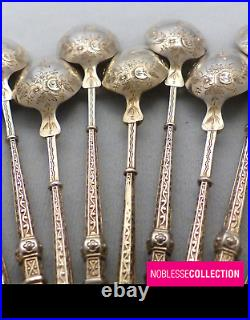 ANTIQUE 1880s FRENCH STERLING/SOLID SILVER & VERMEIL COFFEE/TEA SPOONS SET 11 pc