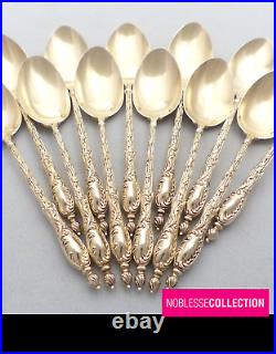 ANTIQUE 1880s FRENCH STERLING/SOLID SILVER VERMEIL COFFEE/TEA SPOONS SET 12 pc