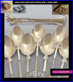 ANTIQUE 1880s FRENCH STERLING/SOLID SILVER & VERMEIL COFFEE/TEA SPOONS SET 13 pc