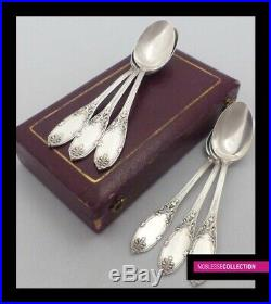 ANTIQUE 1890s FRENCH STERLING SILVER COFFEE/TEA SPOONS SET 6pc REGENCY st