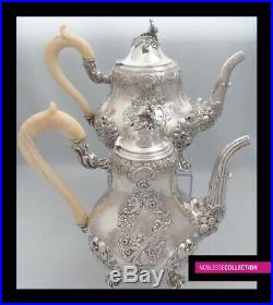 ANTIQUE 1890s FRENCH STERLING SILVER TEA COFFEE POT SUGAR BOWL CREAMER SET 2.2Kg