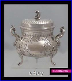 ANTIQUE 1890s FRENCH STERLING SILVER TEA POT SET 3pc + SILVER PLATED PLATTER