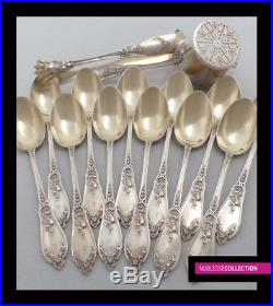 ANTIQUE 1900s FRENCH EXPORT (RUSSIAN 84) STERLING SILVER VERMEIL TEA SPOONS SET