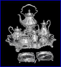 ANTIQUE 9pc. VICTORIAN STERLING SILVER TEA / COFFEE SET WITH TRAY, 1800 1849
