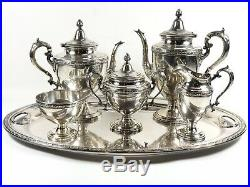 Alvin Sterling Silver c1933 6 Piece Chased Romantique Coffee & Tea Set GORGEOUS