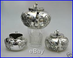 Antique Chinese China Export Solid Silver Teaset Teapot Bowl Creamer Wanghing