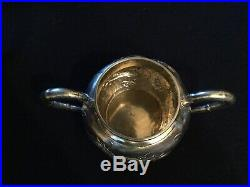 Antique Chinese Export Dragon And Bamboo Sterling Silver Tea Coffee Set