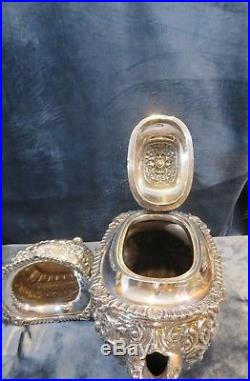 Antique English Sterling Silver Tea Set George Nathan Ridley Hayes, Chester 1903
