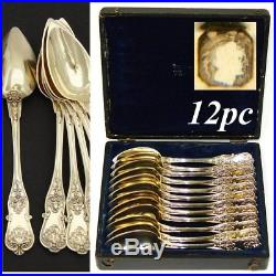 Antique French 18k Gold on Sterling Silver Vermeil 12pc Coffee or Tea Spoon Set