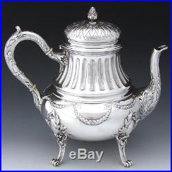 Antique French Sterling Silver 4pc Coffee & Tea Set, Louis XV or Empire Style
