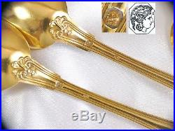Antique French Sterling Silver 6 Tea Spoons Gold Plated Flatware Set Coffee