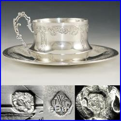 Antique French Sterling Silver Coffee Tea Cup & Saucer Set 950/1000