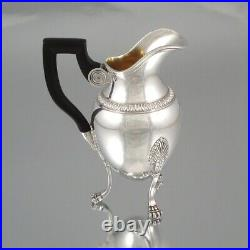 Antique French Sterling Silver Coffee Tea Set Service, Pot, Empire, Swan, Lion