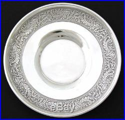 Antique French Sterling Silver Tea Cup & Saucer Set, Ornate Frieze Style Bands