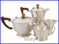 Antique George VI Sterling Silver Four Piece Tea and Coffee Set Art Deco Style