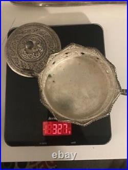 Antique Persian 925 silver tea set with tray