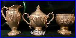 Antique Revere Sterling Silver Tea & Coffee Set Hollowware Floral & Scroll 62 oz
