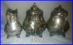 Antique Rogers Aesthetic Victorian Hand Chased Silverplated Charter Oak Tea Set
